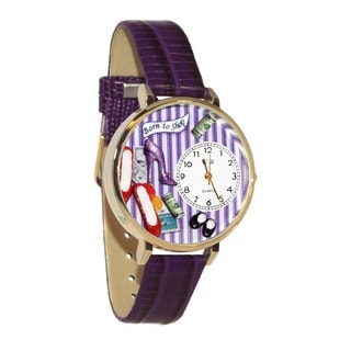Whimsical Women's Shoe Shopper Theme Purple-Leather Goldtone-BezelWatch