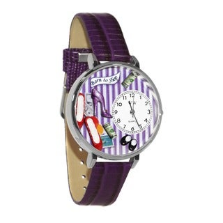 Whimsical Women's Shoe Shopper Theme Purple Leather Watch