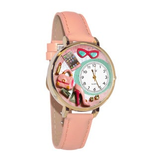 Whimsical Women's Goldtone Shopper Mom-Theme Pink Leather Watch