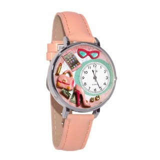 Whimsical Women's Shopper Mom Theme Pink Leather Watch