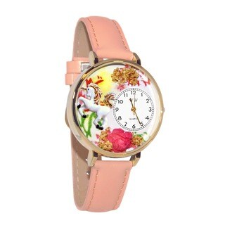 Whimsical Women's Floral Unicorn Theme Pink Leather Watch