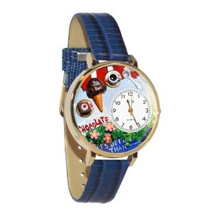 Whimsical Women's Goldtone Chocolate Lover-Theme Royal Blue Leather Watch