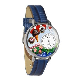 Whimsical Women's Chocolate Lover Theme Royal Blue Leather Watch