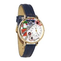 Whimsical Women's Coffee-Lover Theme Navy-Blue Leather-Strap Watch