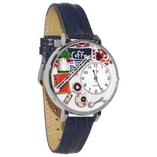 Whimsical Women's Coffee Lover Theme Navy Blue Leather Watch
