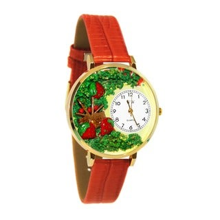 Whimsical Women's Strawberries Theme Goldtone Red Leather Watch