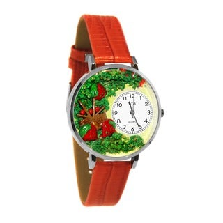 Whimsical Women's Strawberries Theme Red Leather Watch