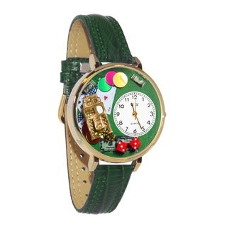 Whimsical Women's Casino Theme Hunter Green Leather Mineral Crystal Watch