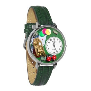 Whimsical Women's Casino Theme Hunter Green Leather Watch
