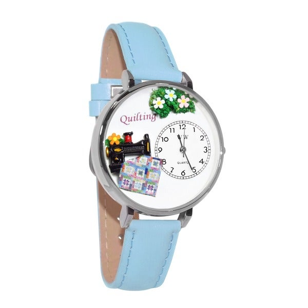 Whimsical Women's Quilting Theme Baby Blue Leather Watch