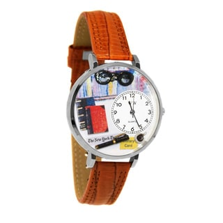 Whimsical Women's Book Lover Theme Stainless-Steel Tan Leather Watch