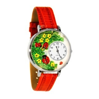 Whimsical Women's Ladybugs Theme Red Leather Watch