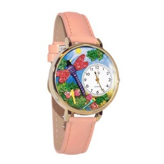 Whimsical Women's Dragonfly Theme Pink Leather Watch