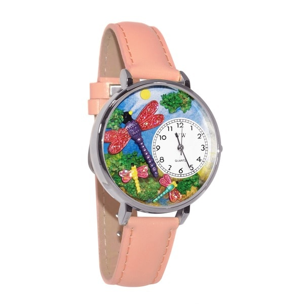 Whimsical Women's Dragonflies Theme Pink Leather Watch