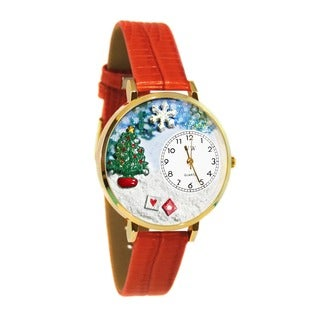 Whimsical Women's Christmas Tree Theme Red Leather Watch