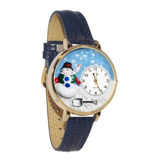 Whimsical Women's Goldtone Christmas Snowman-Theme Navy Blue Leather Strap Watch|https://ak1.ostkcdn.com/images/products/5672568/P13418840.jpg?impolicy=medium