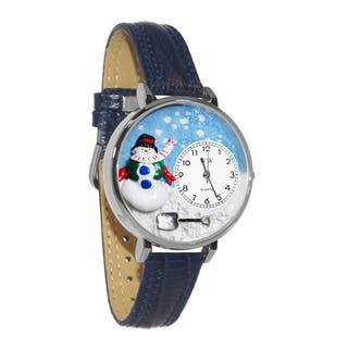 Whimsical Women's Christmas Snowman Theme Navy Blue Leather Strap Watch|https://ak1.ostkcdn.com/images/products/5672569/P13418841.jpg?impolicy=medium