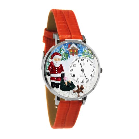 Whimsical Women's Christmas Santa Claus Theme Red Leather-Strap Stainless-Steel Watch