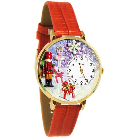 Goldtone Whimsical Women's Christmas Nutcracker Theme Red Leather Strap Watch