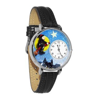 Whimsical Women's Halloween Flying Witch Theme Stainless-Steel Black Leather Watch
