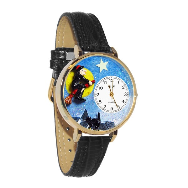 Whimsical Women's Halloween Flying Witch Theme Black Leather Watch