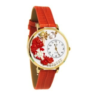 Whimsical Women's Goldtone Love-Theme Red Leather Watch