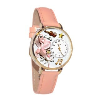 Whimsical Women's Goldtone Ballet-Theme Pink Leather Watch