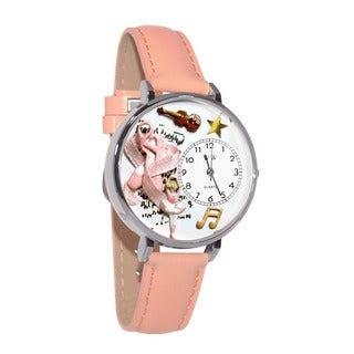 Whimsical Women's Ballet Theme Pink Leather Watch