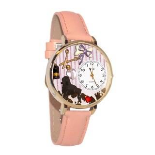Whimsical Women's Dog-Groomer-Theme Pink Leather Quartz Watch