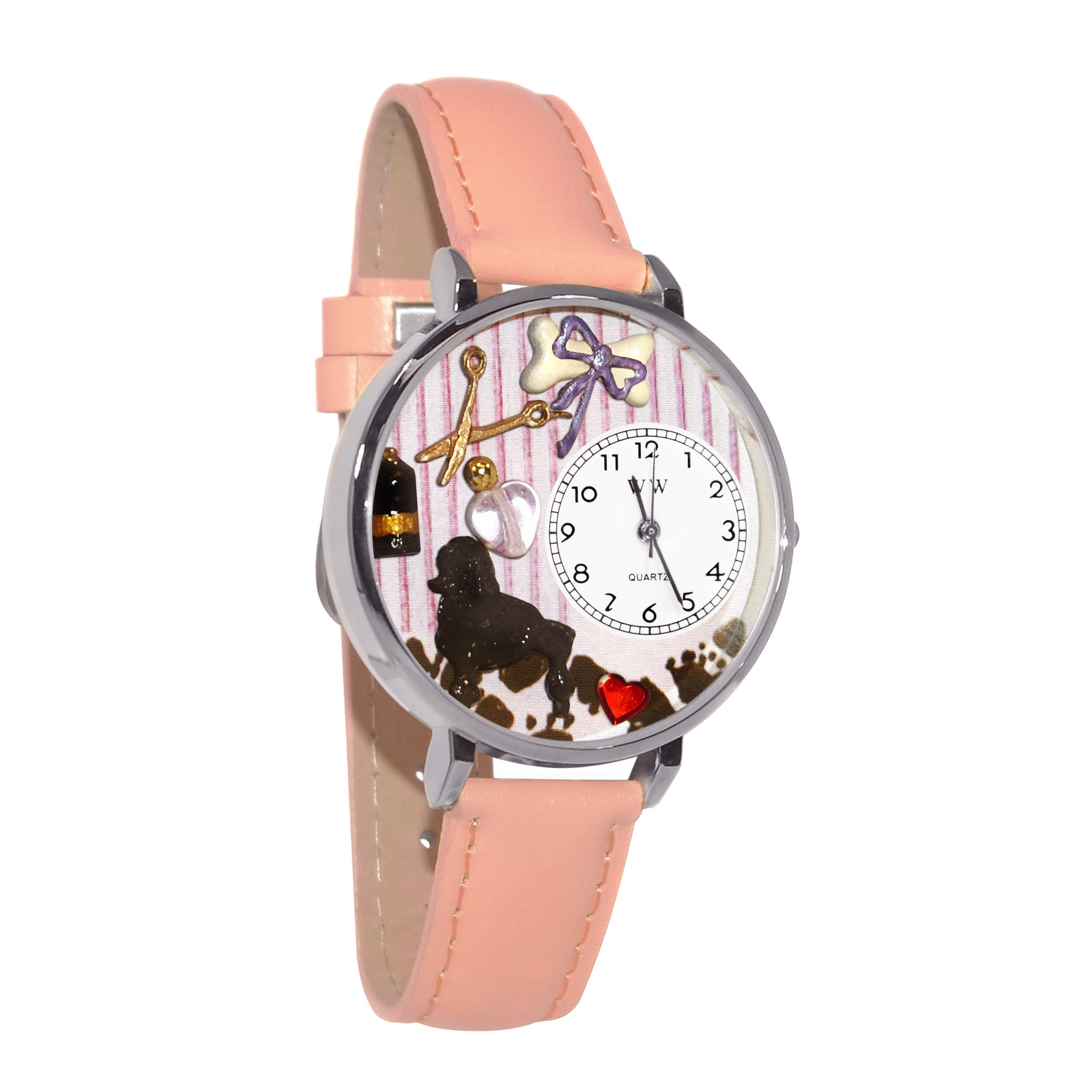 Whimsical Women's Dog Groomer Theme Pink Leather Watch, S...
