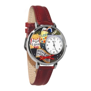 Whimsical Women's Movie Lover Theme Silver Leather Strap Watch