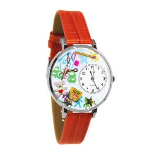Whimsical Women's Preschool-Teacher-Theme Red-Leather Japanese Quartz Watch