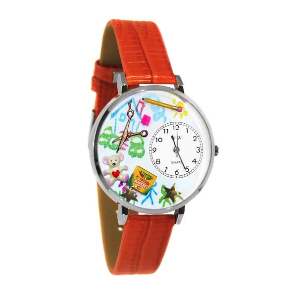 Whimsical Women's Preschool-Teacher-Theme Red-Leather Japanese Quartz Watch
