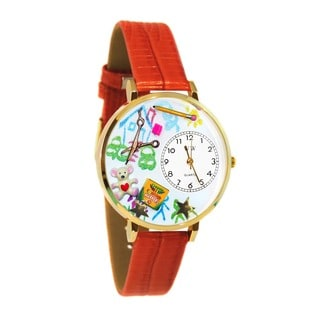 Whimsical Women's Preschool Teacher Theme Red Leather Watch