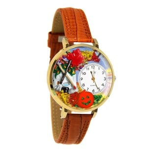 Whimsical Women's Goldtone Autumn Leaves-Theme Tan Leather Watch