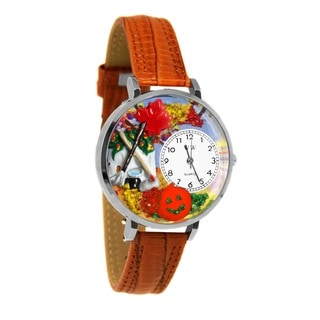 Whimsical Women's Autumn Leaves Theme Tan Leather Watch