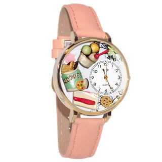 Whimsical Women's Dessert Lover Theme Pink Leather Strap Goldtone Watch