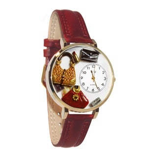 Whimsical Women's Purse Lover Theme Gold Leather Strap Watch