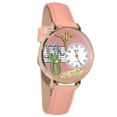 Whimsical Women's Japanese Quartz Nurse 2 Theme Pink Leather Strap Watch