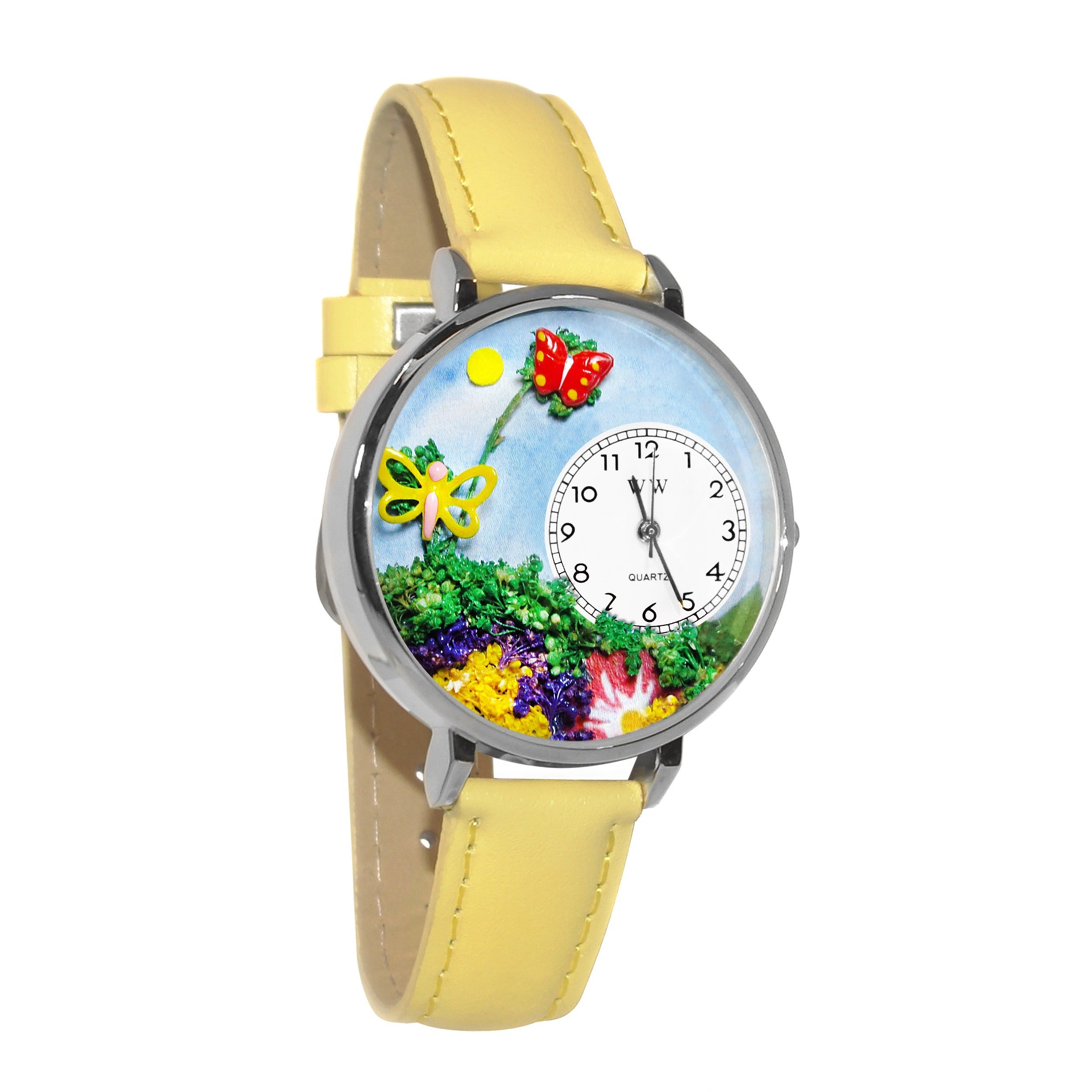 Whimsical Women's Butterfly Theme Yellow Leather Watch, S...