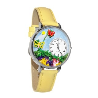 Whimsical Women's Butterfly Theme Yellow Leather Watch
