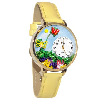 Whimsical Women's Butterflies Theme Yellow Leather Strap Watch