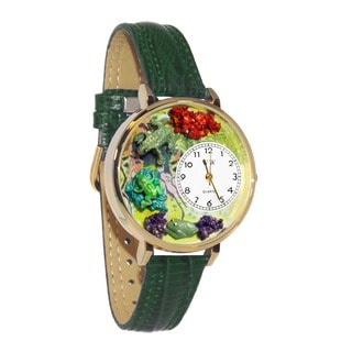 Whimsical Women's Frog-Theme Hunter Green Leather-Strap Watch