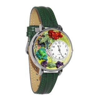 Whimsical Women's Frog Theme Hunter Green Leather Watch