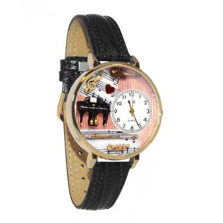 Whimsical Women's Goldtone Music Teacher-Theme Black Skin Leather Watch