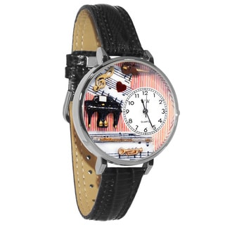 Whimsical Women's Music Teacher Theme Black Skin Leather Watch