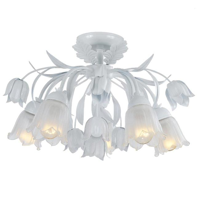 Crystorama Southport 5-light Semi-flush White Chandelier