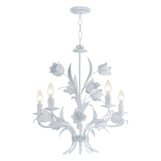 Crystorama Southport 5-light White Floral Chandelier