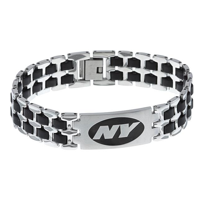 Stainless Steel New York Jets Logo Bracelet