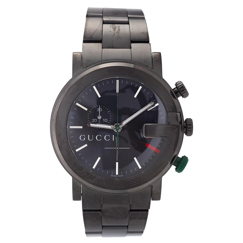 73b2c367fb9 Shop Gucci Men s 101 Stainless Steel Black Dial Chronograph Watch - Free  Shipping Today - Overstock - 5672872